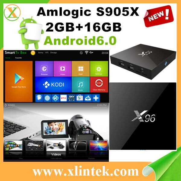 Amlogic S905X X96 Android6.0 TV Box 2GB RAM 16GB ROM 2.4G WiFi BT4.0 H.265 Kodi 16.1 Preinstalled 4K Smart Media Player