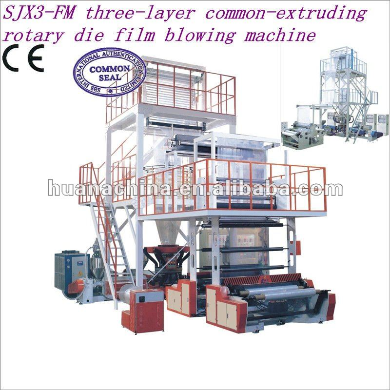 Three-layer common-extruding rotary die meat feeding packaging plastic film machinery