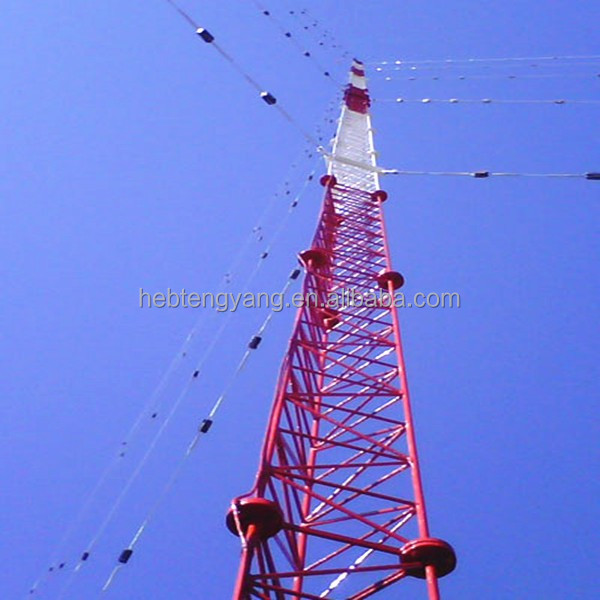 60-80m lattice guyed tower mast for wind measurement campaign