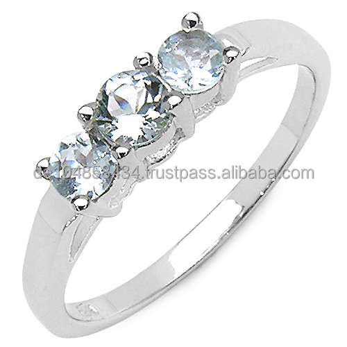 Genuine 925 Sterling Silver Aquamarine Ring with Rhodium Finish