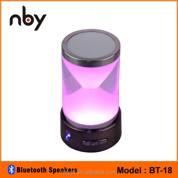 Best Hourglass Led Light Bluetooth Speaker 3W Super Bass Rechargeable Mp3 Speaker With Bluetooth TF USB FM AUX Port Remote BT-18