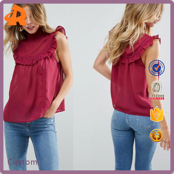 customize sleeveless red ladies blouse,fashion design lady blouse supplier in china