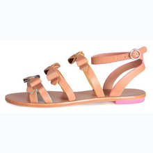 2017 pink lady high quality leather flat sandal women shoes