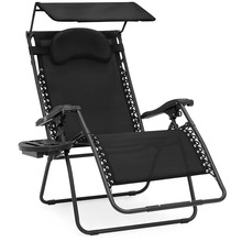 Oversize Zero Gravity Folding Reclining Lounge Patio Chair with Canopy
