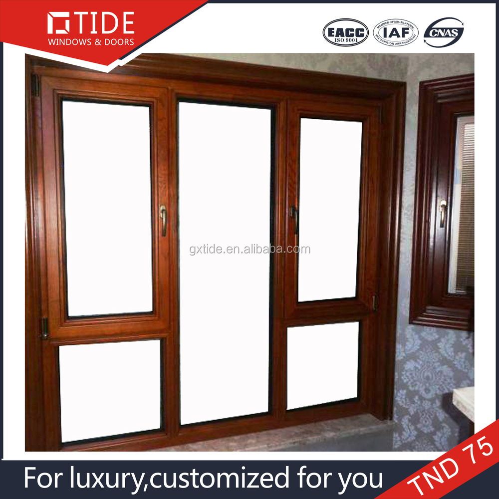 German hardware Aluminum wooden thermal insulated casement windows
