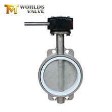 China factory stainless steel worm gear wafer type ptfe lined butterfly valve dn50