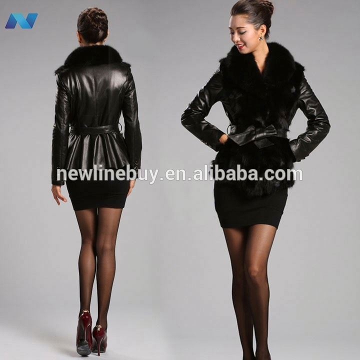 New Womens Fashion Long Sleeve Synthetic/ Leather Warm Fur Jacket Coat Parka Outerwear With Belt