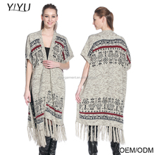 2016 Fashionable sweater long tricot aztec cardigan women open front knitted poncho with tassel