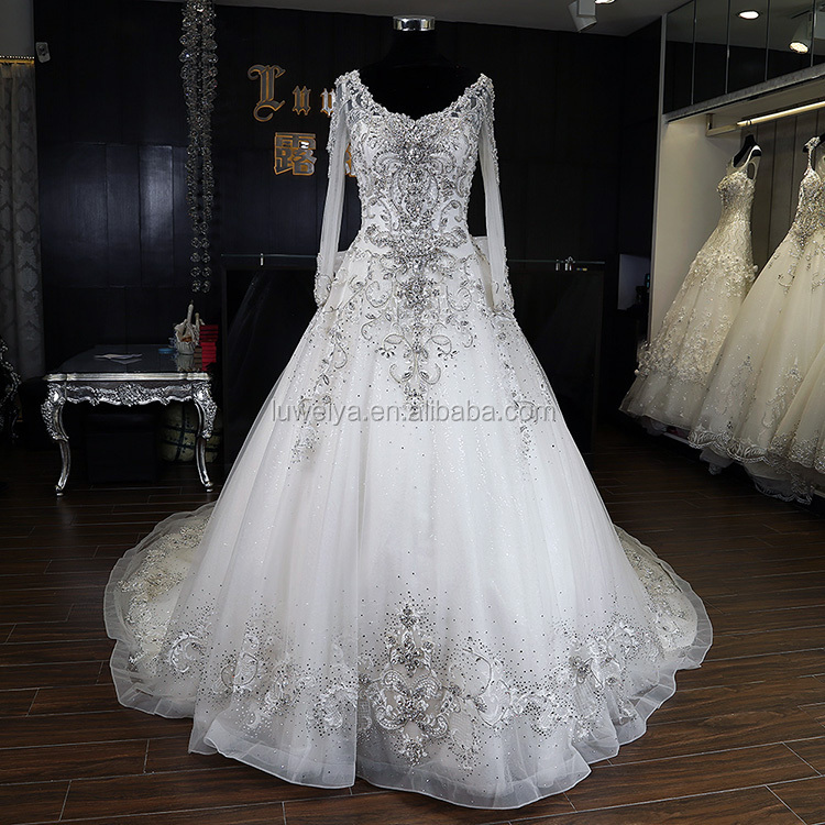 Bling Bling Professional Technical Good Quality Long Sleeve Crystal Luxurious Wedding Dresses
