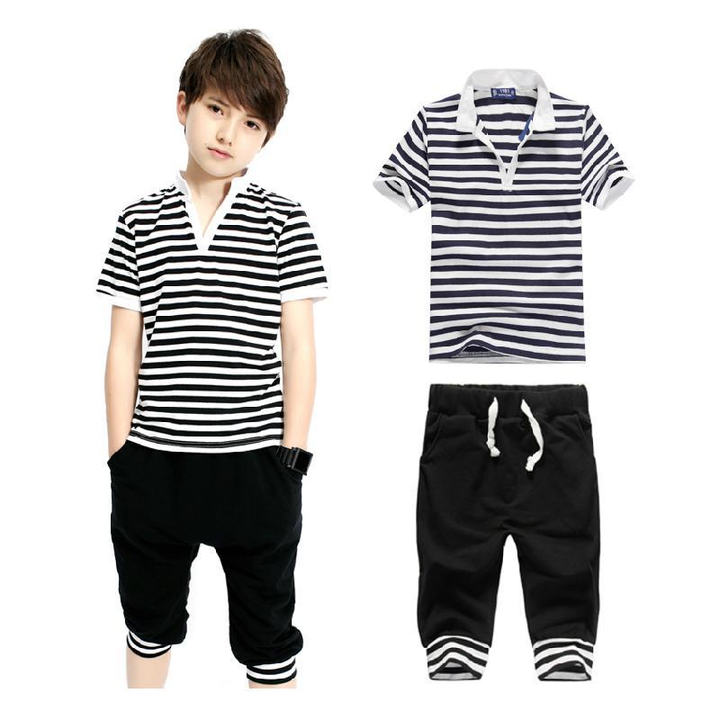 Male child set child 2015 short-sleeve casual t-shirt shorts sports set summer children's clothing big boy men's clothing summer