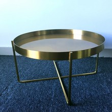 New Product Hotel Articles Metal brass brush Stainless Steel coffee Table