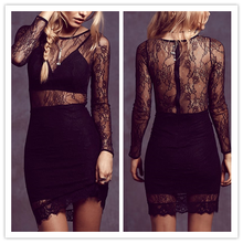 Fashion ladies Black Lace party dress Long sleeve Transparent Sexy bodycon dress