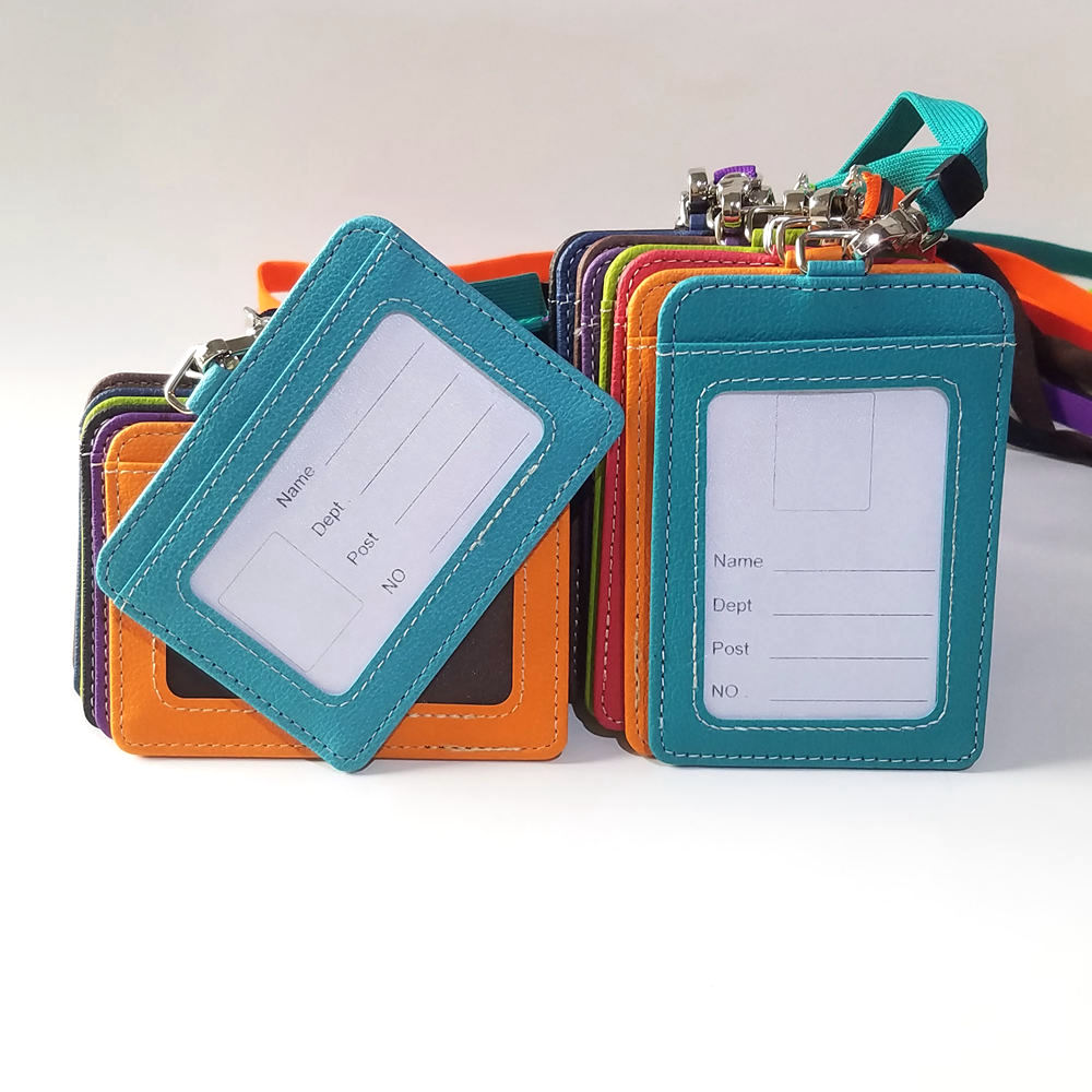 Wholesale PU Leather employee work permit ID Card Holder with lanyard