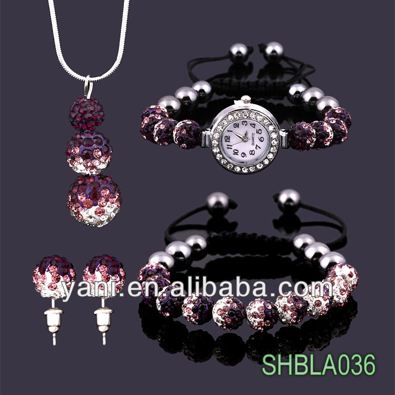 Low price 4pcs lots wholesale traditional south indian gold jewellery purple clay bead landing shamballa set