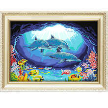 Diy picture art sets embroidery seaworld landscape diamond painting