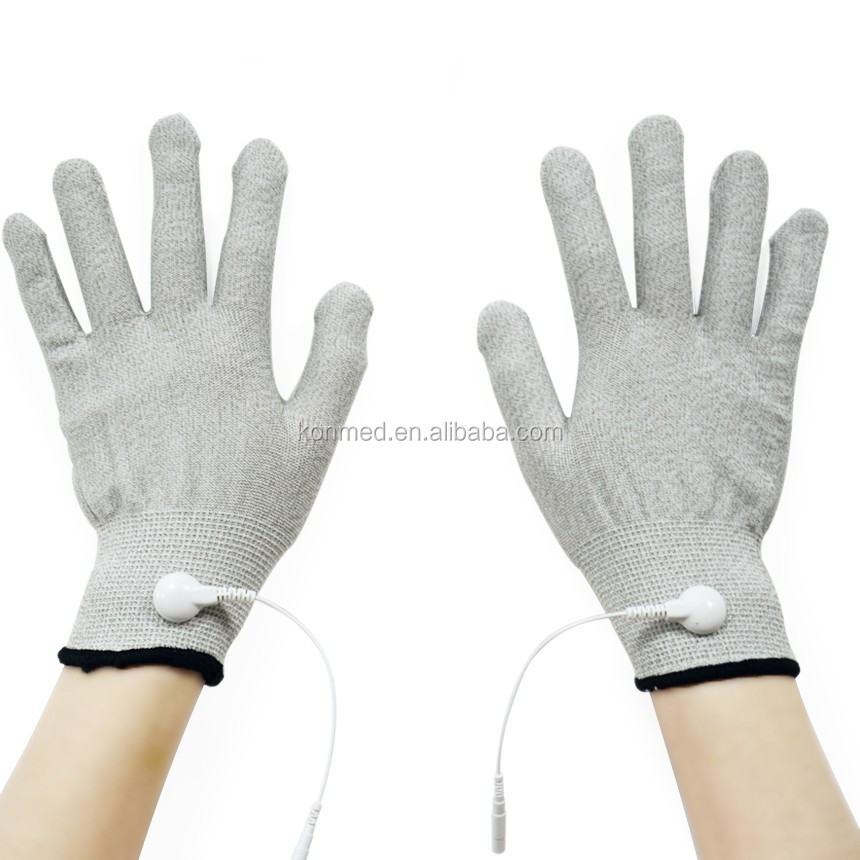 Work for digital therapy TENS conductive gloves with silver fiber material