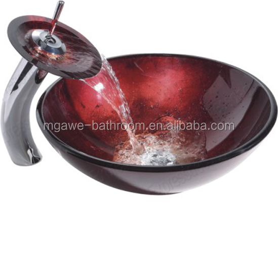 red color glass bathroom sink vessels with waterfall faucet