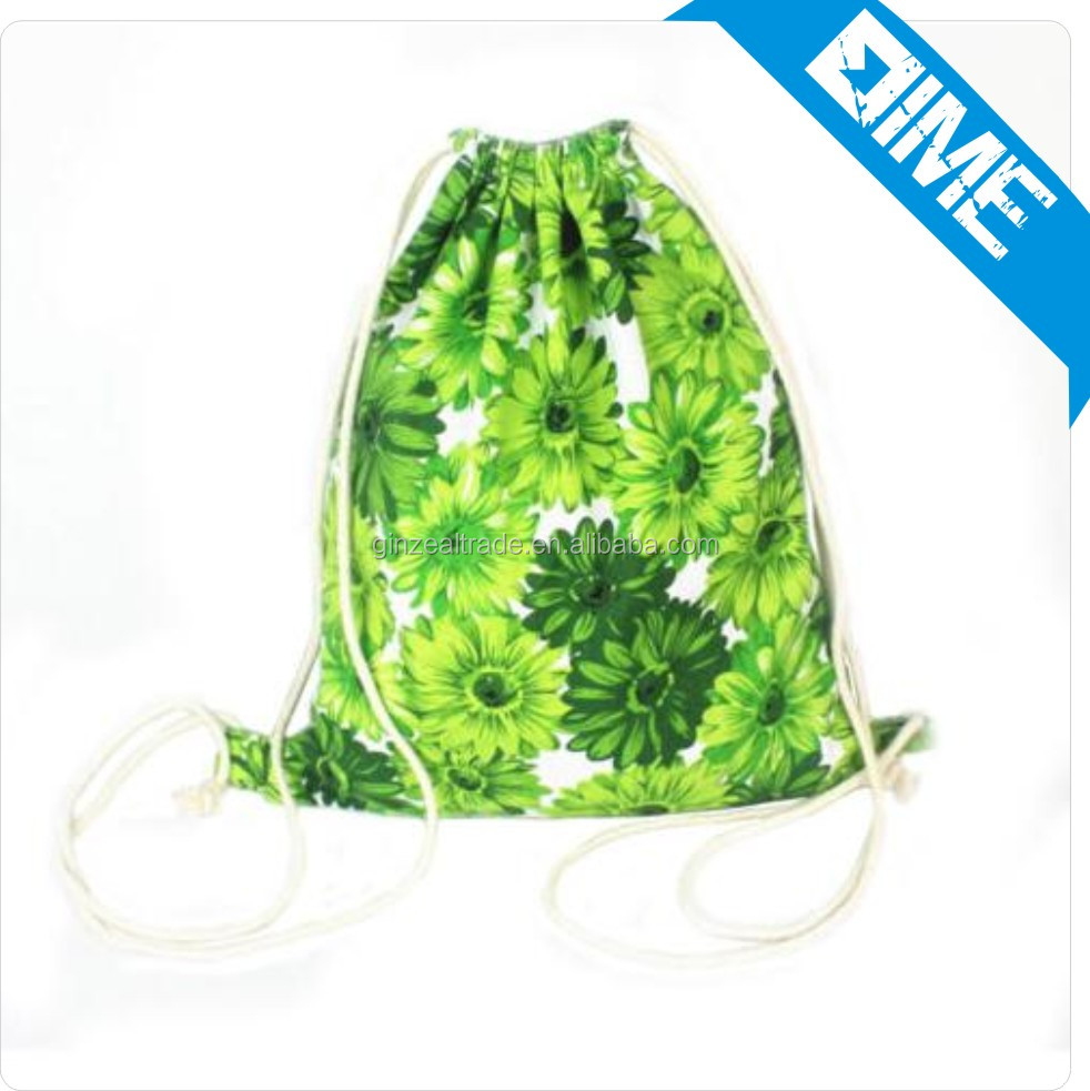 Wholesale custom sublimation printing calico cotton canvas drawstring