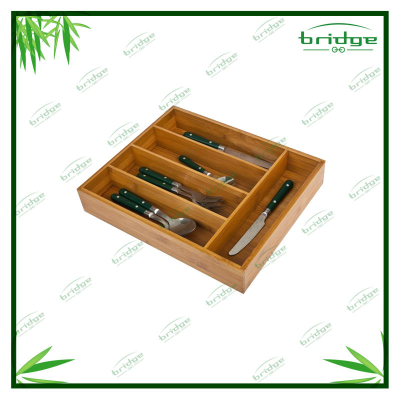 Eco-friendly bamboo kitchen cutlery tray