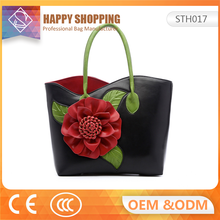 The latest Chinese wind stereoscopic big flower color china leather ladies handbag