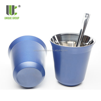 Unique Gift Ideas 80ml 160ml Capsules Double Wall Nespresso Coffee Stainless Steel Espresso Cup