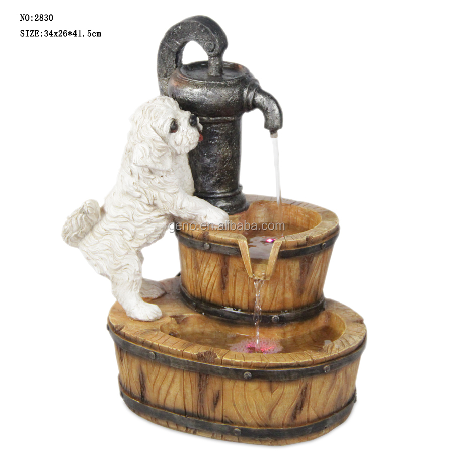 dog with barrel water fountain for garden decoration