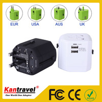 W002 High quality International USB Travel Power Plug Adaptor with dual usb charger