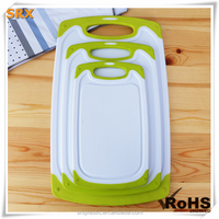 4PCS Non-Slip Plastic Cutting Board Set Plastic Chopping Board with Stand/custom plastic chooping board shenzhen manufacturer