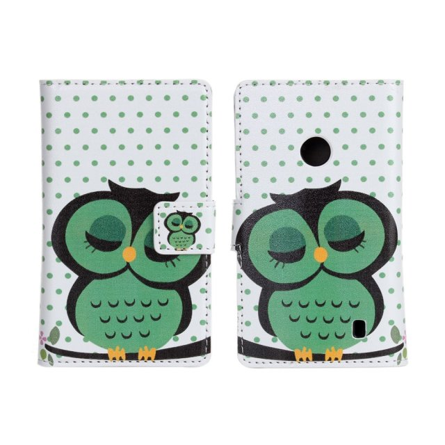 China wholesale owl print wallet flip leather case cover for nokia lumia 520