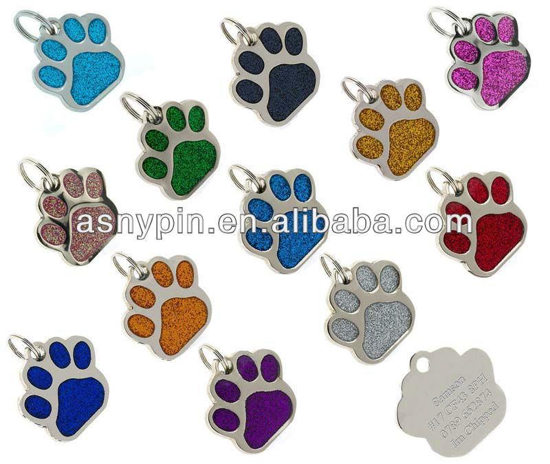 ID Pet Tags Glitter Paw Design Quality 27mm Dog Tags -12 glitter colors