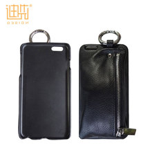 Custom zipper bag wallet pu leather design mobile phone back cover for iPhone , mobile phone case for lenovo