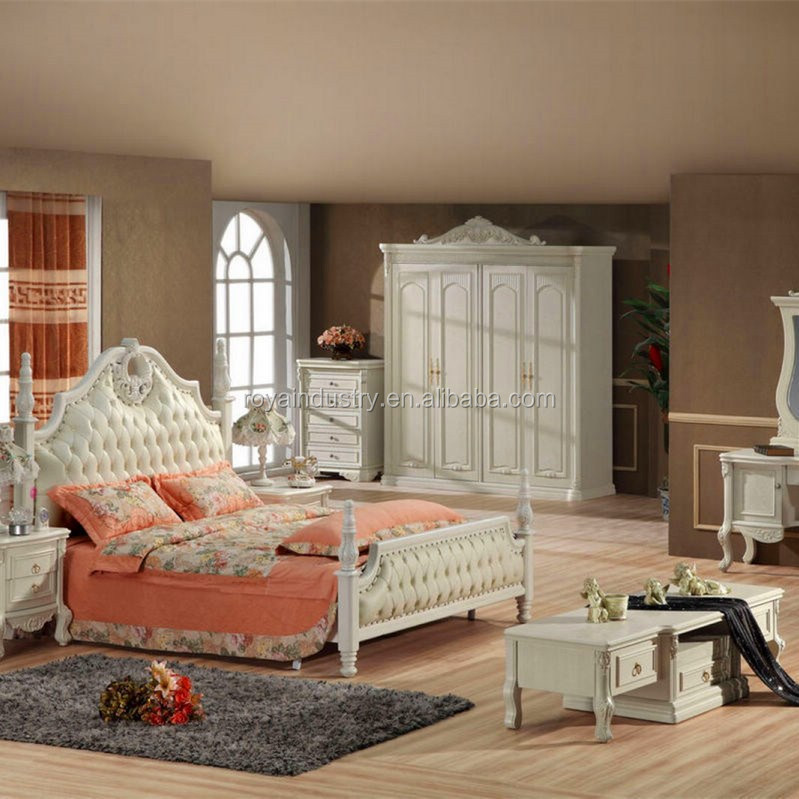 european style solid wood carved bedroom furniture antique