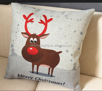 2015 China factory direct supply alibaba selling well fashion super soft 100% cotton printed Christmas reindeer pillow
