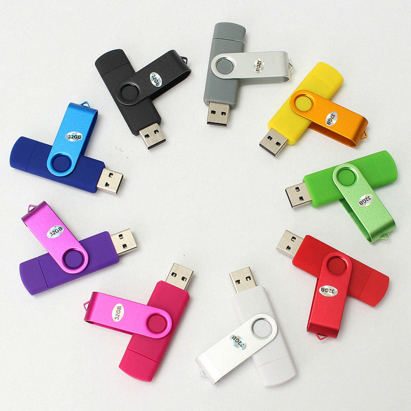 2018 individuelles Logo-Promo Dual Port 2-in-1-Swivel-OTG-USB-Flash-Laufwerk 2 GB 4 GB 8 GB Micro otg Twister U Festplatte 16 GB 32 GB USB-Stick