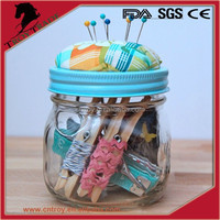 New style glass mason jar with pin cushion lid. DIY needle cap on mason jar for home furnishing