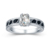 Wholesale White Cz Jewelry Women Ring 925 Sterling Silver And Black Stone