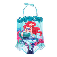 (GGL1522#)Little mermaid swimwear girls one piece swimming costume kids swimsuit
