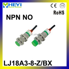 Three Wire DC NPN NO 1-10mm distance measuring capacitive proximity switch sensor -LJ18A3-8-Z/BX
