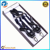 Custom High Quality 2 in 1 Leather Button End Stretchable Suspenders for Men