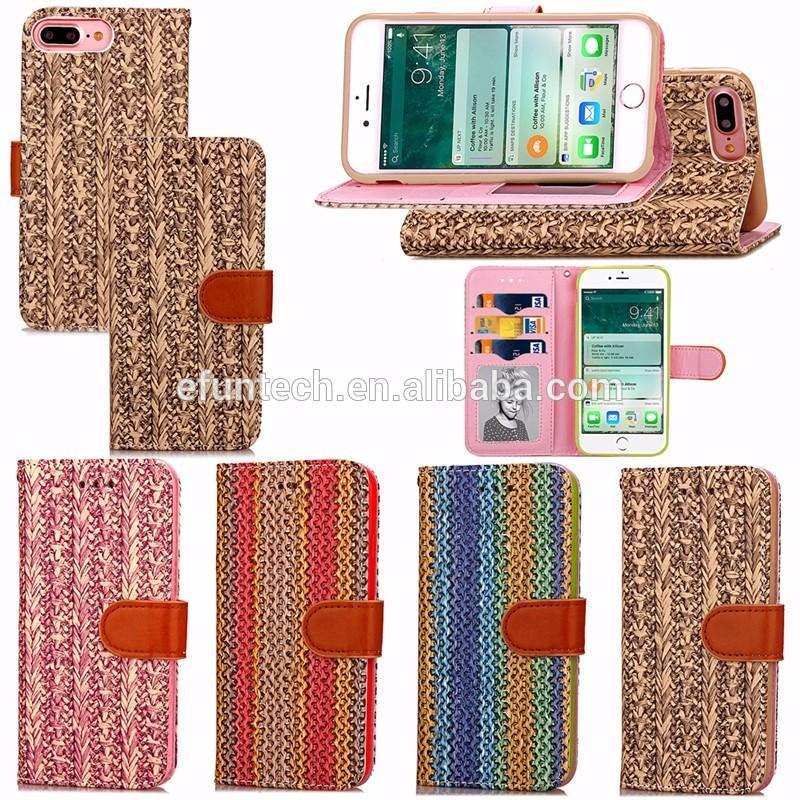 Fast delievery fashionable rattan weaving pattern PU leather wallet cell phone case for iphone 7 plus