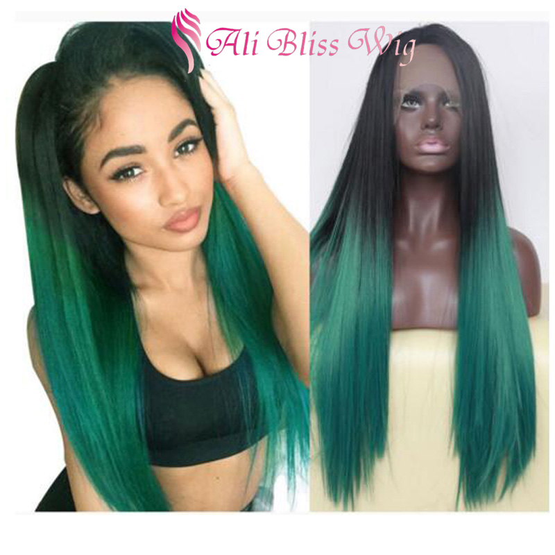 "Cheap 26"" Long Silk Soft Straight Dark Roots Two Tone Green Ombre Heat Resistant Fiber Hair Synthetic Lace Front Wigs for Women"