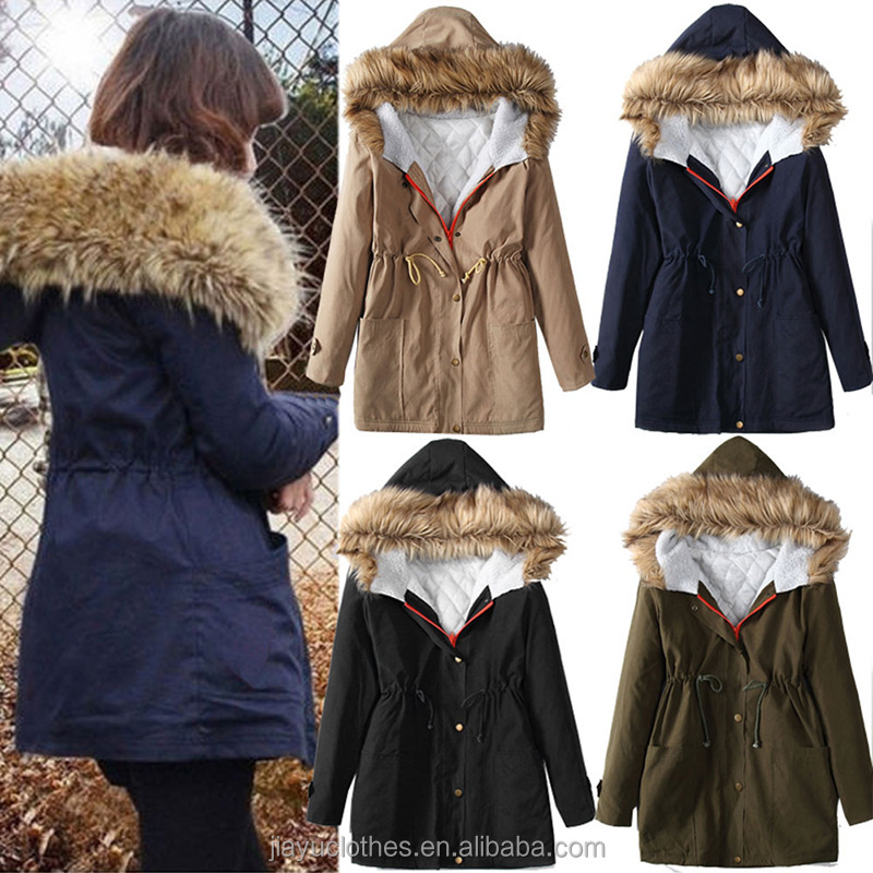 High quality ladies thick coat wholesale fashion beautiful woman winter coat 2016