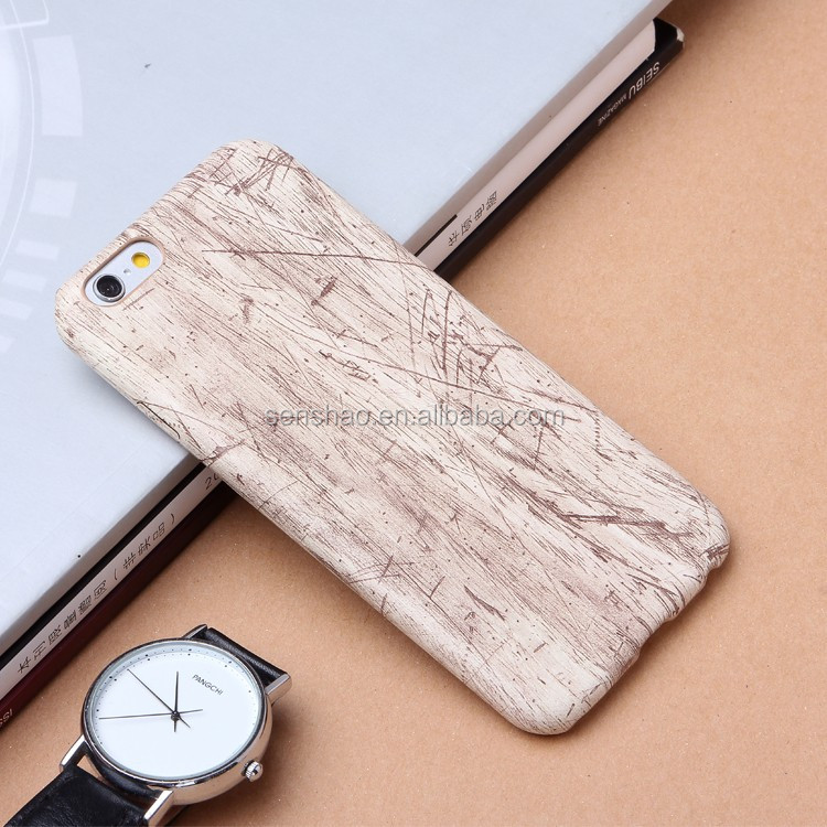 cheap hot selling soft leather Phone Case Super Soft TPU + PU Wood Pattern Back Cover for iphone5 6 6plus with high-quality