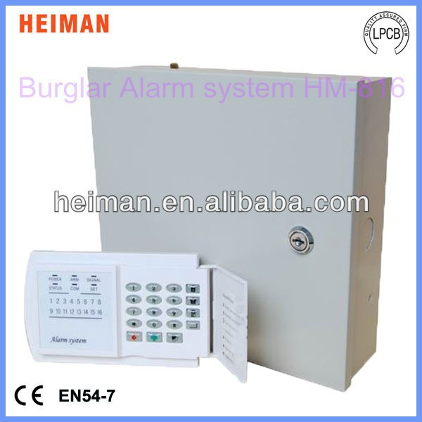 16 wired zones Burglar Alarm control panel with keypad HM-816