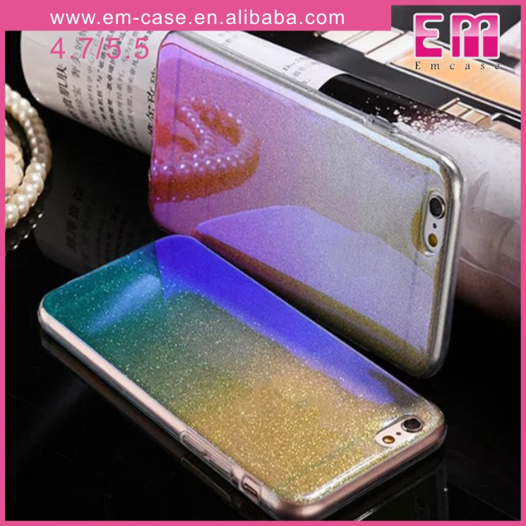 For iPhone 6 Gradient Blue Ray TPU Phone Case Glitter Phone Case For iPhone 6 Plus