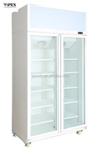 Double Swing Door Display Cooler with Top Mounted Compressor