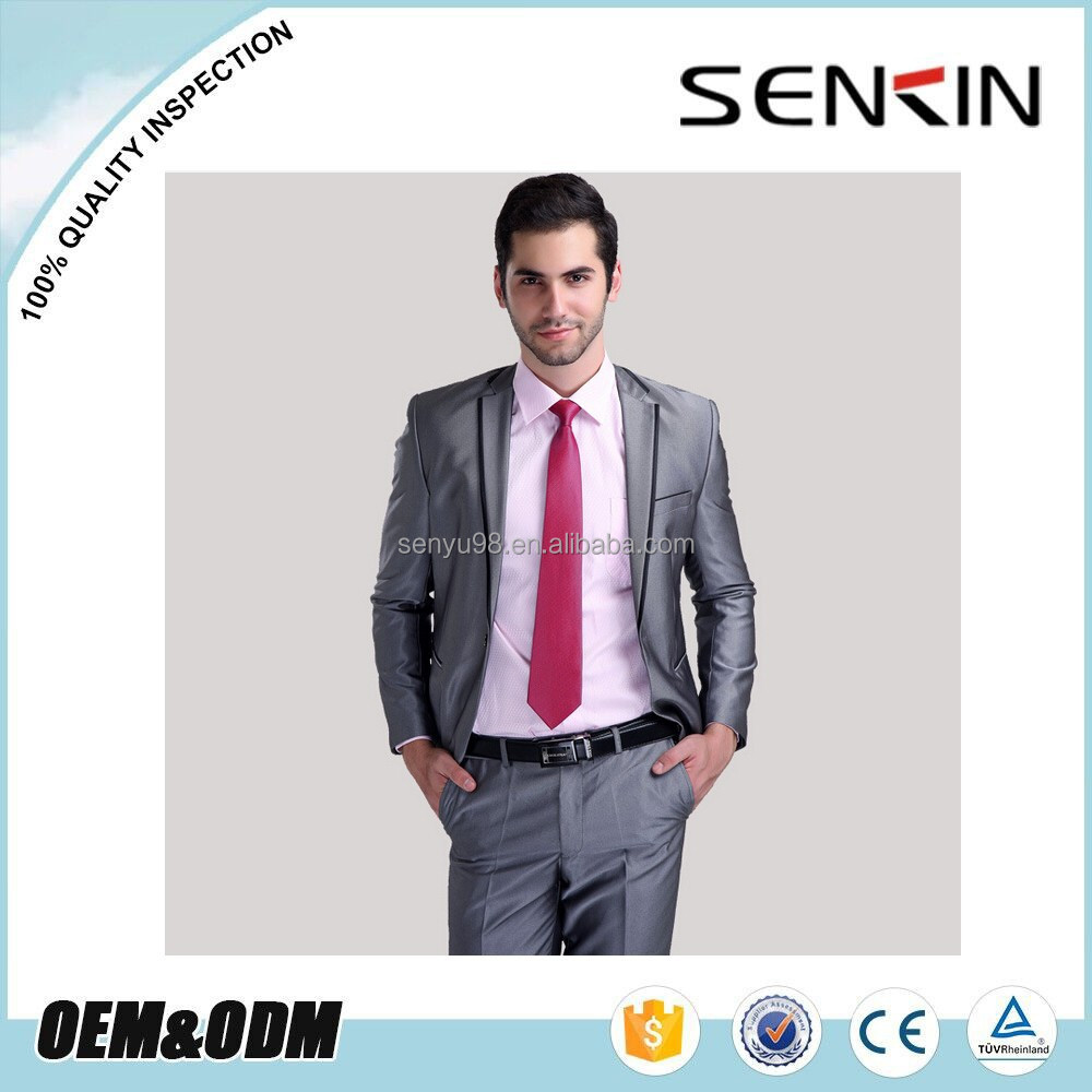 OEM men's Wedding Suit Korean version trendy business suits for man silver color men's business suit