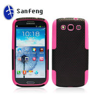 Top quality best selling hybird mesh combo case for samsung galaxy s3 i9300 mobilephone case