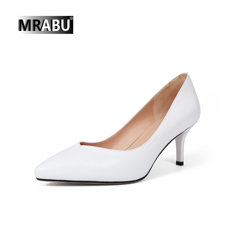 pure leather pointed toe 7cm or 5cm heels ladies ivory white wedding pumps women spring shoes