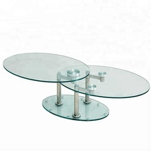 Modern living room <strong>furniture</strong> style functional rotating oval steel glass coffee table with 2 layers top